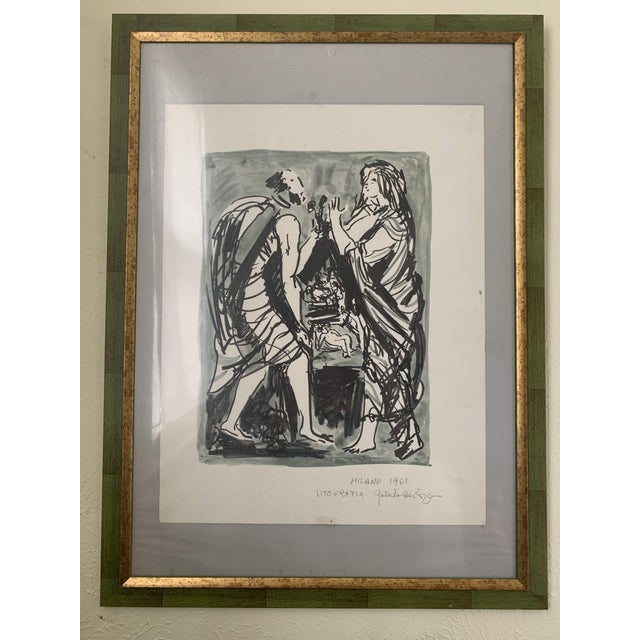 1961 Italian Framed Watercolor Ink Sketch Painting of a Roman Man and Woman Wearing Togas For Sale - Image 4 of 10