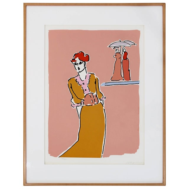 Mid-Century Modern Framed Print by Peter Max Two With Umbrellas Signed Numbered For Sale