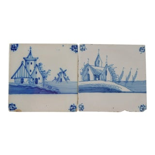 Early 18th Century Antique Delft Tiles - Set of 2