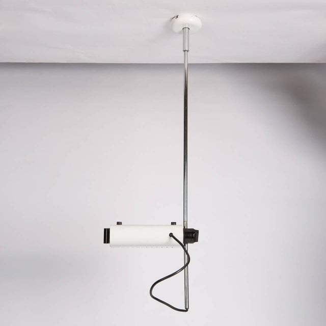 """Set of three """"Colombo"""" ceiling lamps by Joe Colombo for Oluce. Chromium-plated stem, wall fixings lacquered and height..."""