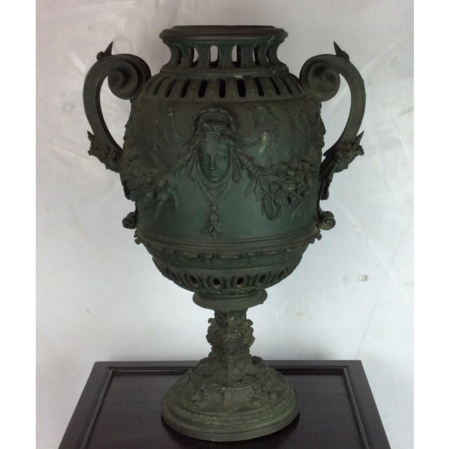 Antique French Carved Bronze Urn For Sale - Image 10 of 10
