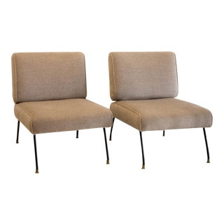 Pair of Italian Mid Century Lounge Chairs in Mohair