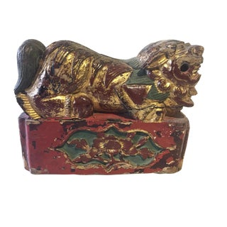 """19th C Wood Carved Foo Dog 6"""" H by 7.5"""" W For Sale"""