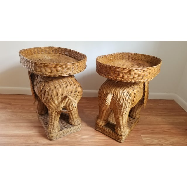 Boho Chic 1960s Boho Chic Woven Elephant Tray Tables - a Pair For Sale - Image 3 of 10