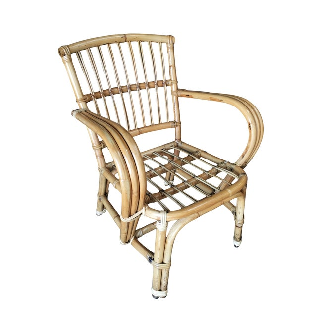 3-Strand bentwood rattan armchair with stick rattan back. Restored to new for you. All rattan, bamboo and wicker furniture...