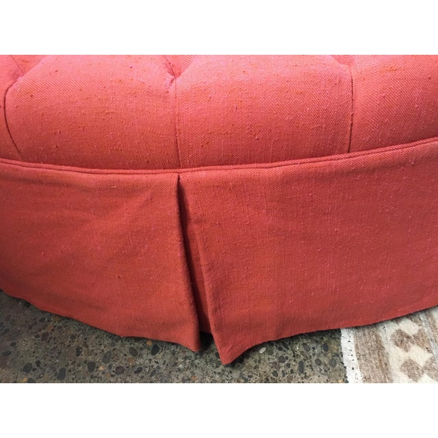 Orange Oval Tufted Ottoman For Sale In Portland, OR - Image 6 of 7