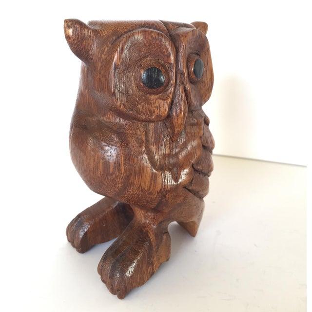 Folk Art Vintage Owl Whistle, Hand Carved Wood For Sale - Image 3 of 8