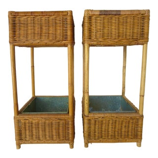 Mid-Century Rattan Plant Stands - a Pair For Sale