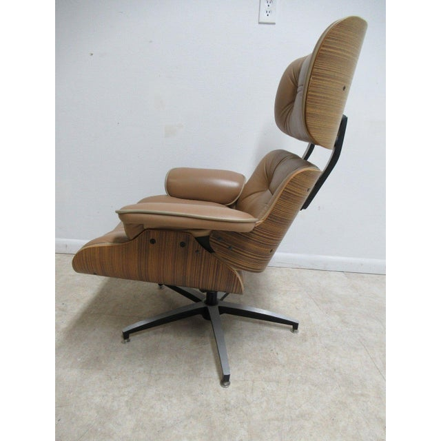 Vintage Mid Century Leather Zebra Wood Lounge Chair & Ottoman - Image 7 of 12