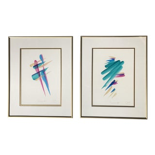 1990s Abstract Pink & Blue Paintings - A Pair
