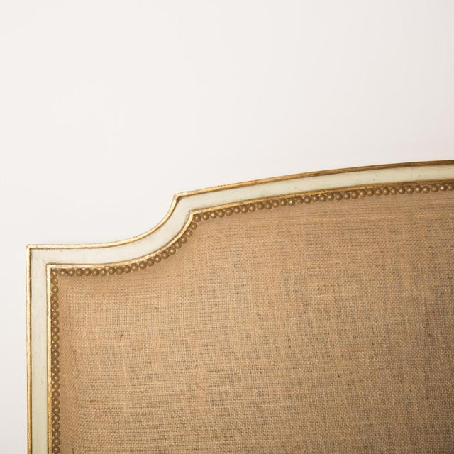 1940s 1940s French Louis XV Style Burlap Queen Size Bedframe For Sale - Image 5 of 7