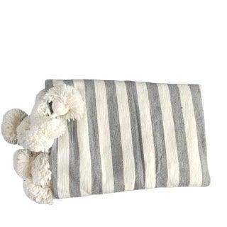 Gray White Gray Pompom Throw For Sale