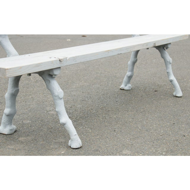 White Quality Cast Iron Faux Bois Garden Park Bench For Sale - Image 8 of 13