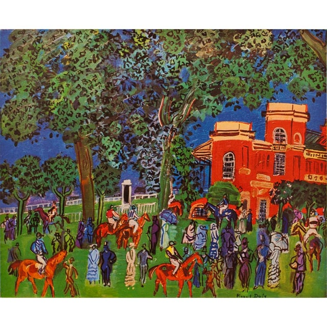 Raoul Dufy 1940s Raoul Dufy Paddock Original Period Swiss Lithograph For Sale - Image 4 of 6
