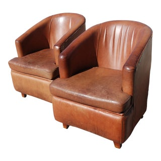 French Art Deco Brown Leather Club Chairs - a Pair For Sale