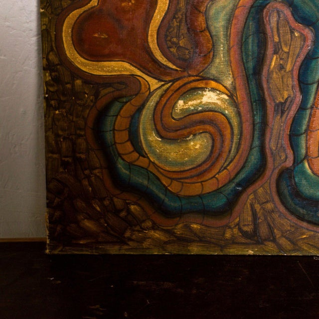 1980s Vintage Organic Art Modern Abstract Oil on Board Painting For Sale - Image 5 of 8