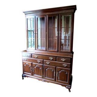 Ethan Allen Cherry China Cabinet Hutch For Sale