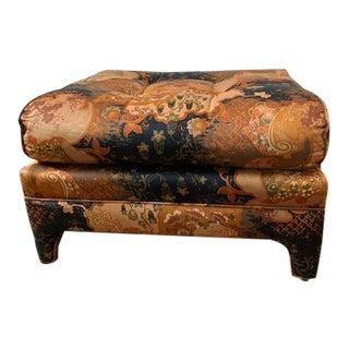 Vintage Mid Century Jack Lenor Larsen-Style Upholstered Ottoman For Sale