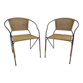 Vintage Boho Chic Wicker & Iron Side Chairs - a Pair For Sale
