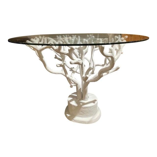 Coral Paper Machete Pedestal Table For Sale