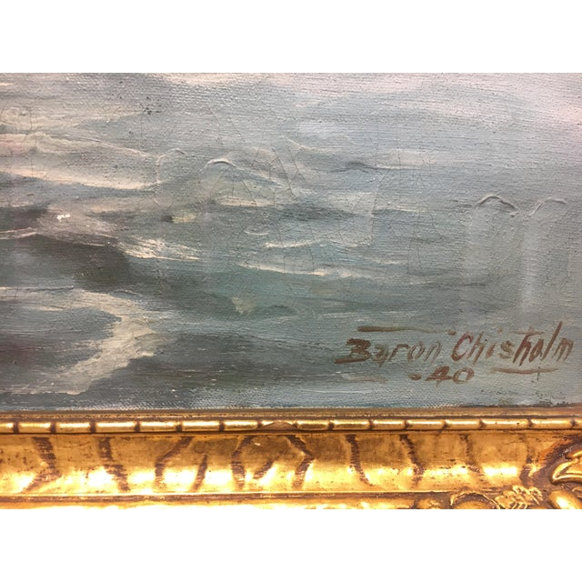 Blue Vintage European Seascape Oil Painting For Sale - Image 8 of 9