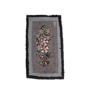 Antique Floral Hooked Accent Rug For Sale
