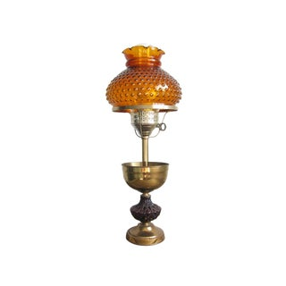 1940s Vintage Amber and Amethyst Glass and Brass Lamp For Sale
