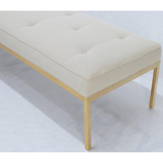 Extra Long Solid Brass Base Frame Spring Loaded New Upholstery Bench Daybed For Sale - Image 12 of 13