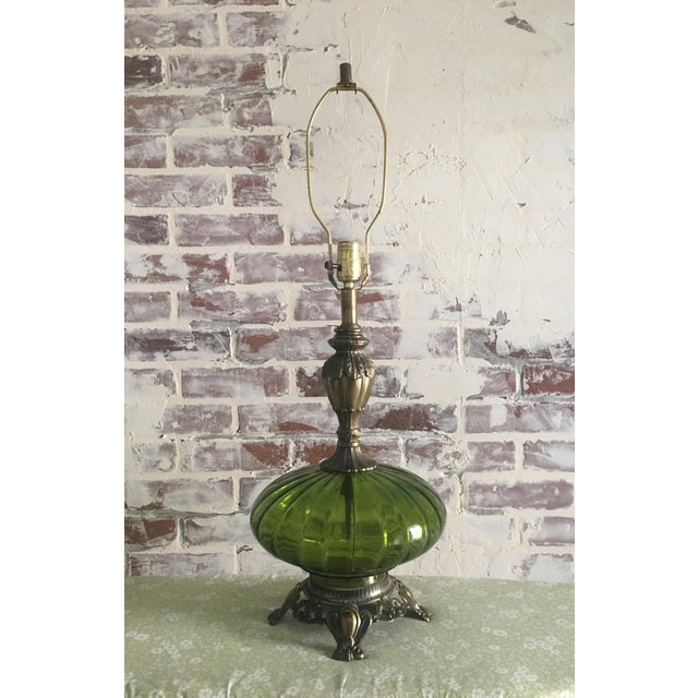 Hollywood Regency Emerald Green & Gold Glass Lamp - Image 5 of 7