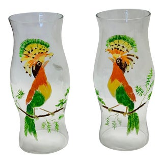 Hand Painted Tropical Bird Glass Candle Hurricanes - a Pair For Sale