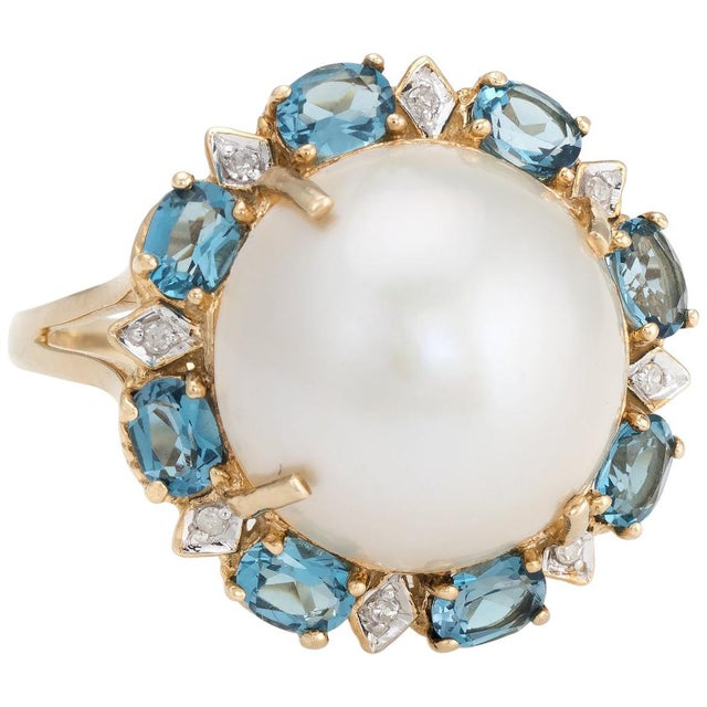 Gold Estate Mabe Pearl Topaz Diamond Ring 14 Karat Gold Round Cocktail Jewelry Fine For Sale - Image 8 of 8