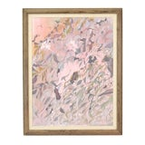 Image of Vintage Mid-Century Pink Leaves Abstract Oil Painting For Sale