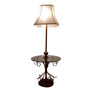 Italian Style Tole & Glass One Piece Table Lamp For Sale