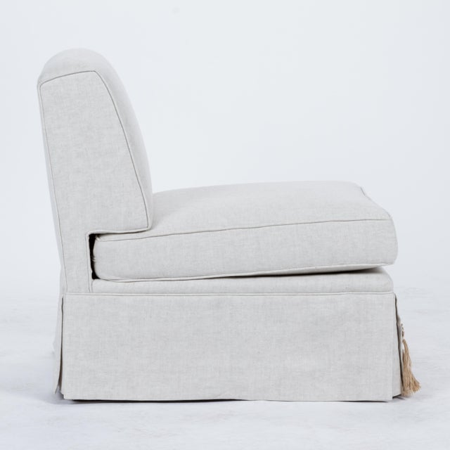 Not Yet Made - Made To Order Casa Cosima Skirted Slipper Chair in Oatmeal Linen, a Pair For Sale - Image 5 of 9