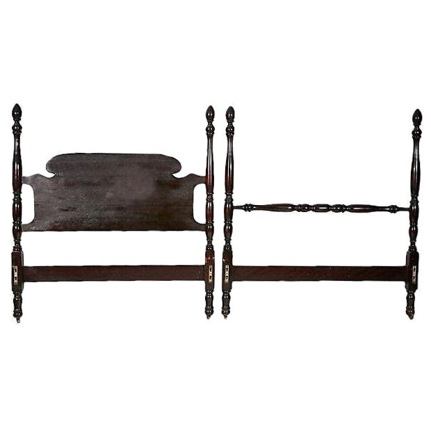 Vintage Mahogany Twin Bed Frame For Sale