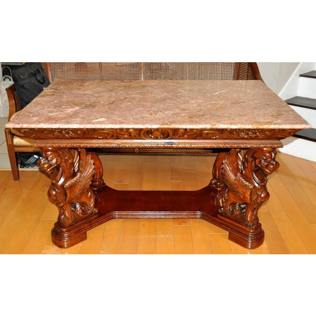 Vintage Renaissance Style Wood Carved Winged Griffin Table and Pink Granite Top For Sale - Image 13 of 13