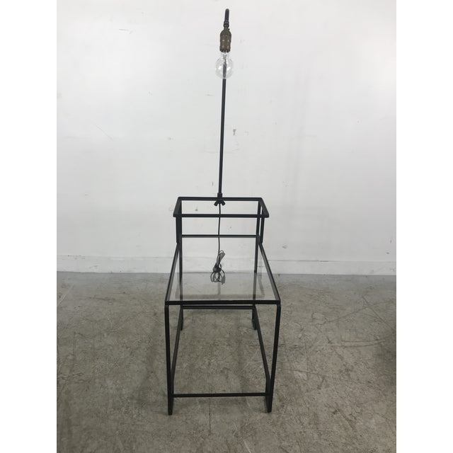 Mid-Century Wrought Iron Table & Lamp Combo in the Style of Weinberg, McCobb For Sale - Image 11 of 13