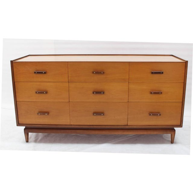 Mid-Century Modern two-tone finish long dresser credenza with gallery.
