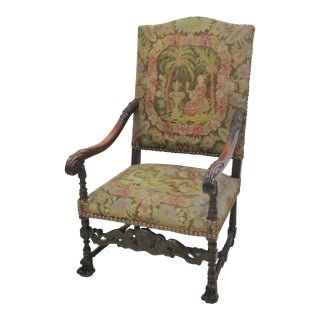 Victorian Carved Needlepoint Armchair For Sale
