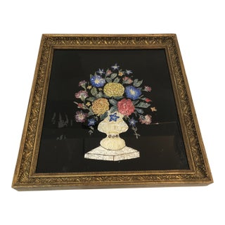 19th Century Tinsel Painting of Flowers in Original Frame For Sale