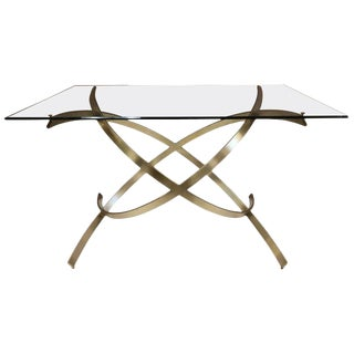 1950s Italian Sculptural Solid Brass Dining Table For Sale