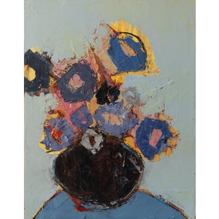 """Bill Tansey """"Blue Spring"""" Abstract Floral Oil Painting on Canvas For Sale"""