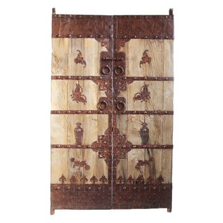 Antique Chinese Wood & Iron Door For Sale