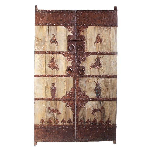 Antique Chinese Wood & Iron Door - Image 1 of 4
