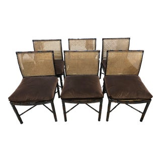 Bamboo Motif & Wicker Chairs With Velvet Cushions- Set of 6 For Sale