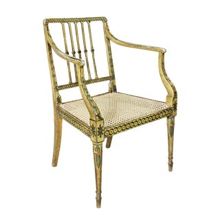 George III Painted and Caned Armchair For Sale