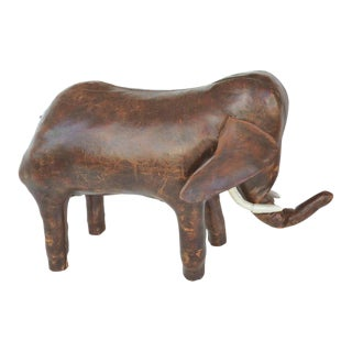 Overscale 1950s Dimitri Omasar of Abercrombie & Fitch Leather Elephant Footstool For Sale