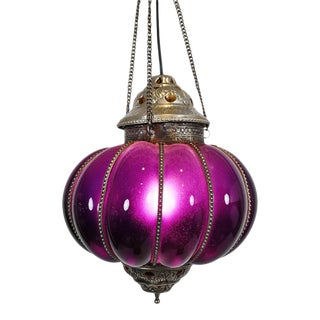 Vintage Purple Pumpkin Lantern For Sale