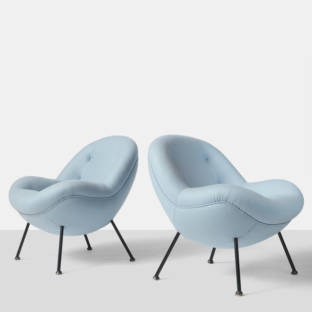 """An """"Egg"""" chair with metal legs by Fritz Neth completely restored in a luxurious cashmere and wool fabric from Holland &..."""