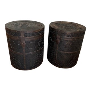 1980s Moroccan Carved Side Tables - a Pair For Sale